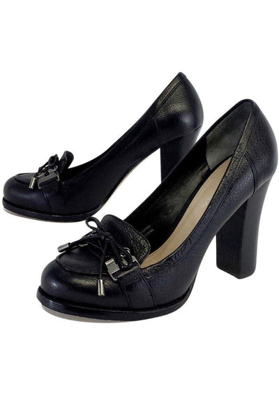 Current Boutique-Via Spiga - Black Pebbled Leather Loafer Heels Sz 6