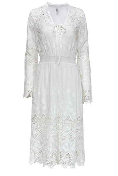 Current Boutique-Yoana Baraschi - White Lace Midi Dress Sz L