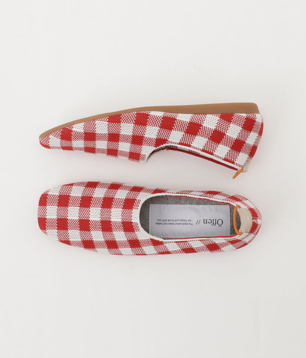 gingham check pattern RED/WHITE 両足