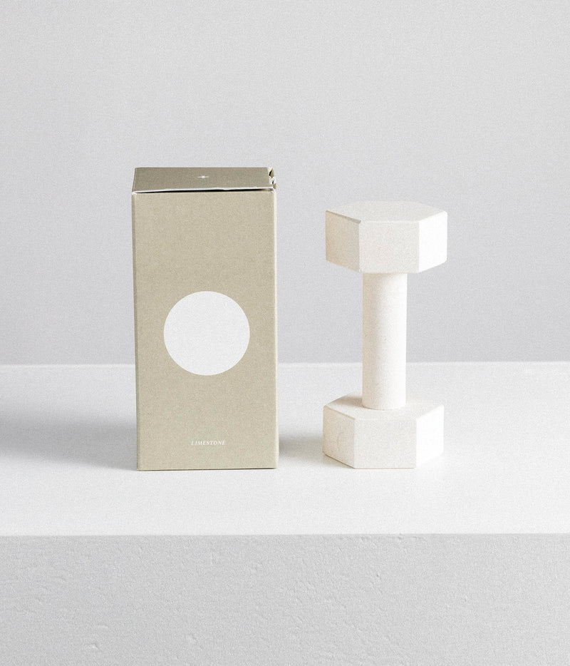 Marble Dumbbell – Limestone and box
