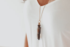 Smoky Quartz - Essential Oil Vial Necklace
