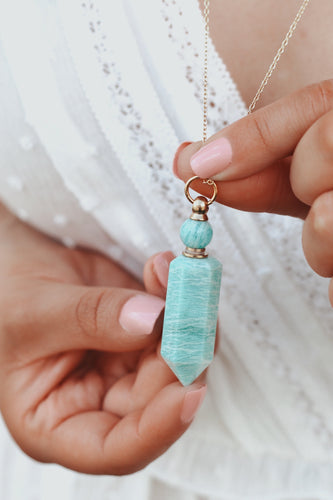 Amazonite- essential oil vial necklace