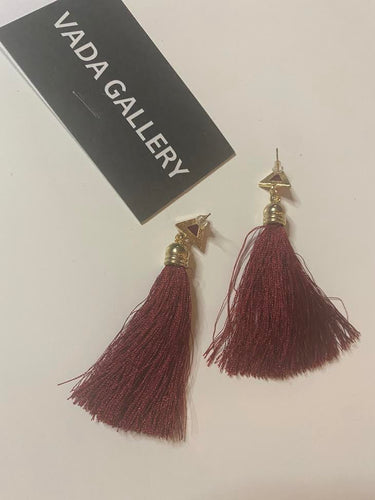Deep Red Tassel Earrings