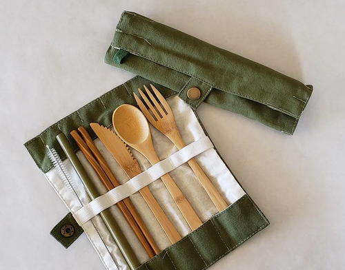 Bamboo Utensil Set, Zero Waste, Straw Fork Knife Spoon