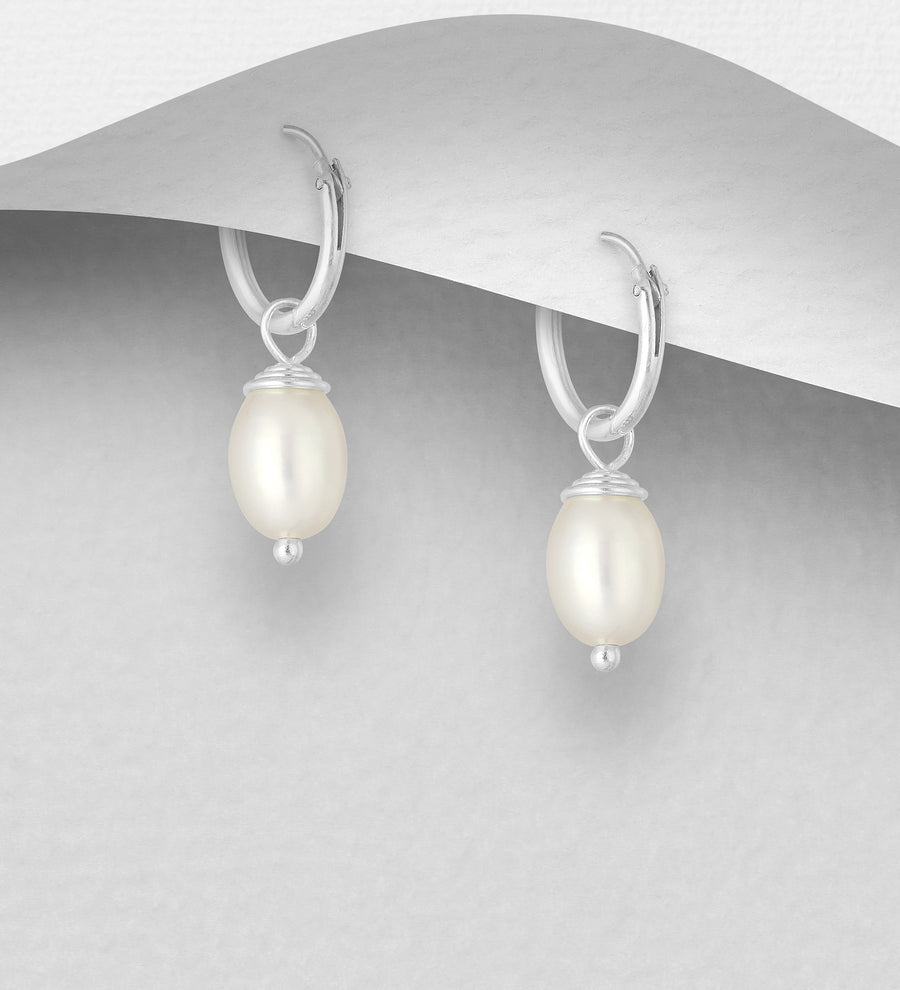 Sterling Silver with Freshwater Pearl Huggies
