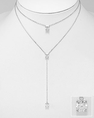 Sterling Silver Double Strand Necklace with Cubic Zirconia Pendant