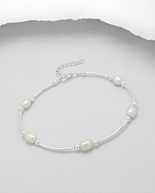 Sterling Silver beaded Bracelet with Freshwater Pearl