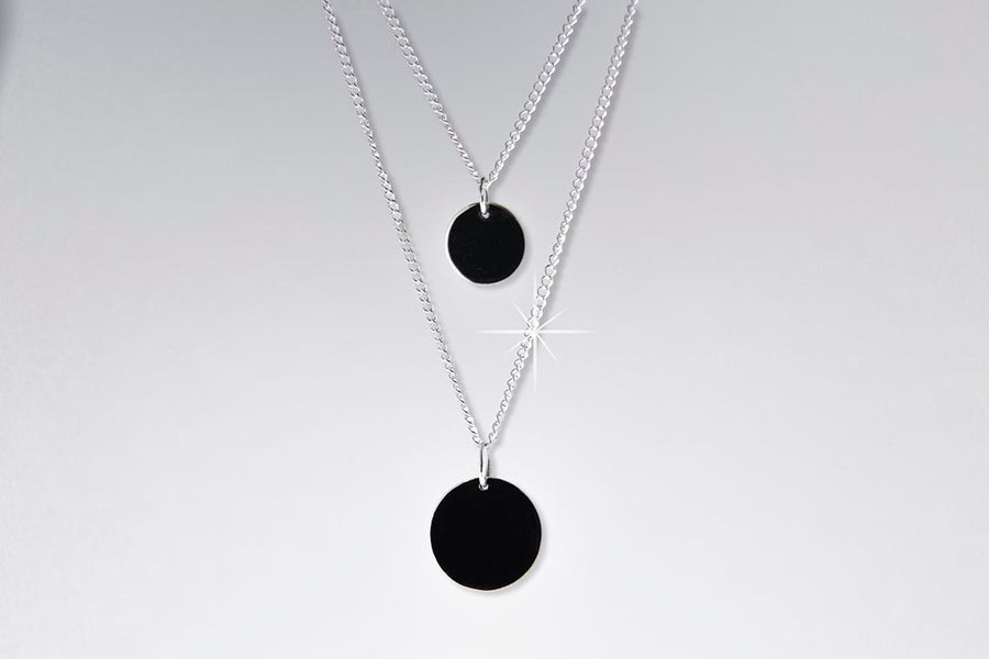 Disc and Solitaire Necklace and Earring set