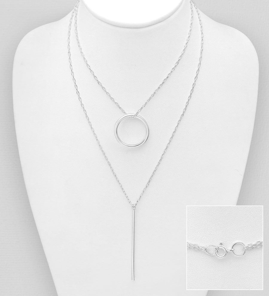 Sterling Silver Bar and Circle Double Strand Necklace