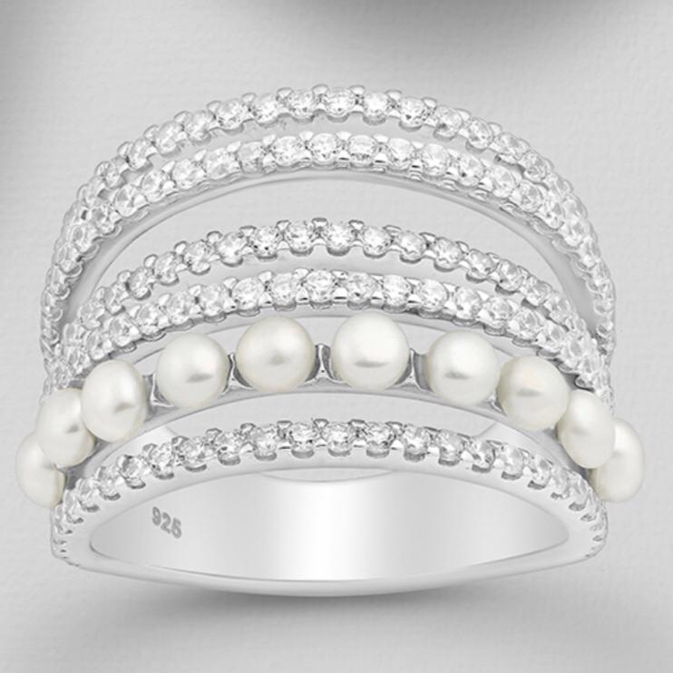 CZ Simulated Diamond and Freshwater Pearl Ring