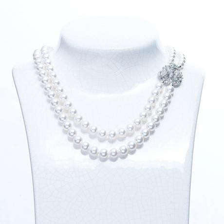 Cliona double necklace white