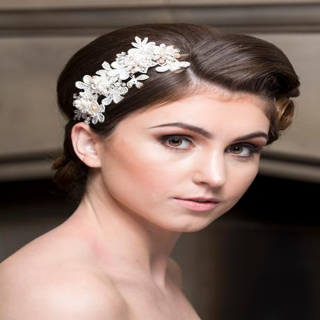 Ela Pearl and Crystal Silver Lace Hairband