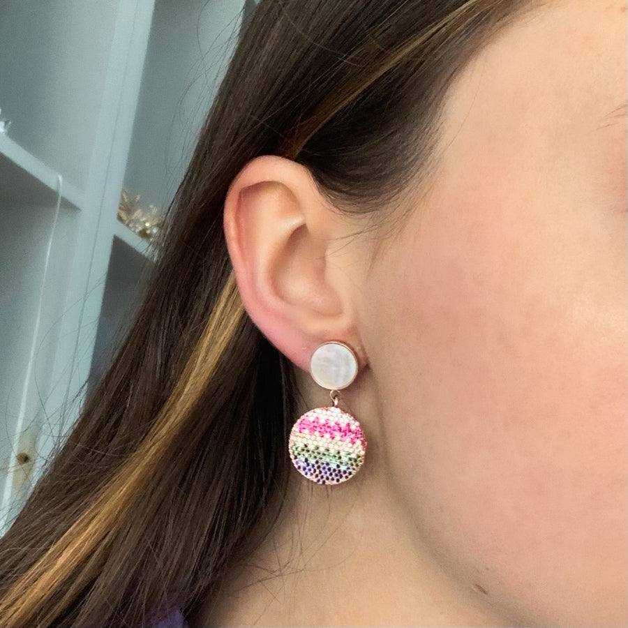 Multi-colour Disc Earrings