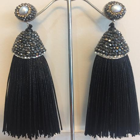 Long Black Tassel Earring
