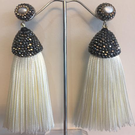 Long Cream Tassel Earrings