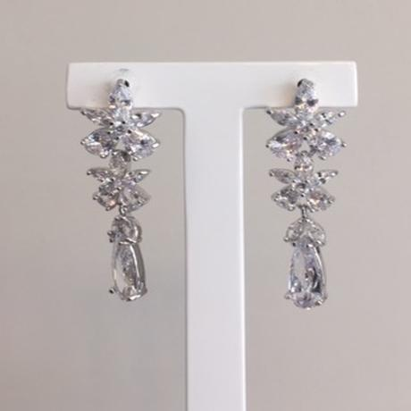 Floral diamond earrings. Flower diamond shaped earrings