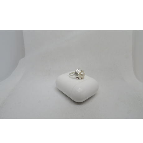 Polished Silver and Pearl Ring