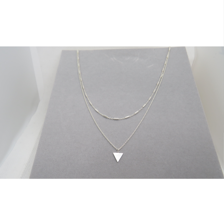 Double Stranded Triangle Silver Necklace