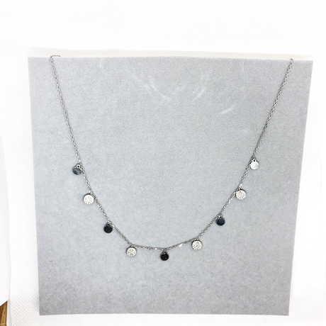 Sterling Silver and Cubic Zirconia Disc Necklace and Bracelet Set