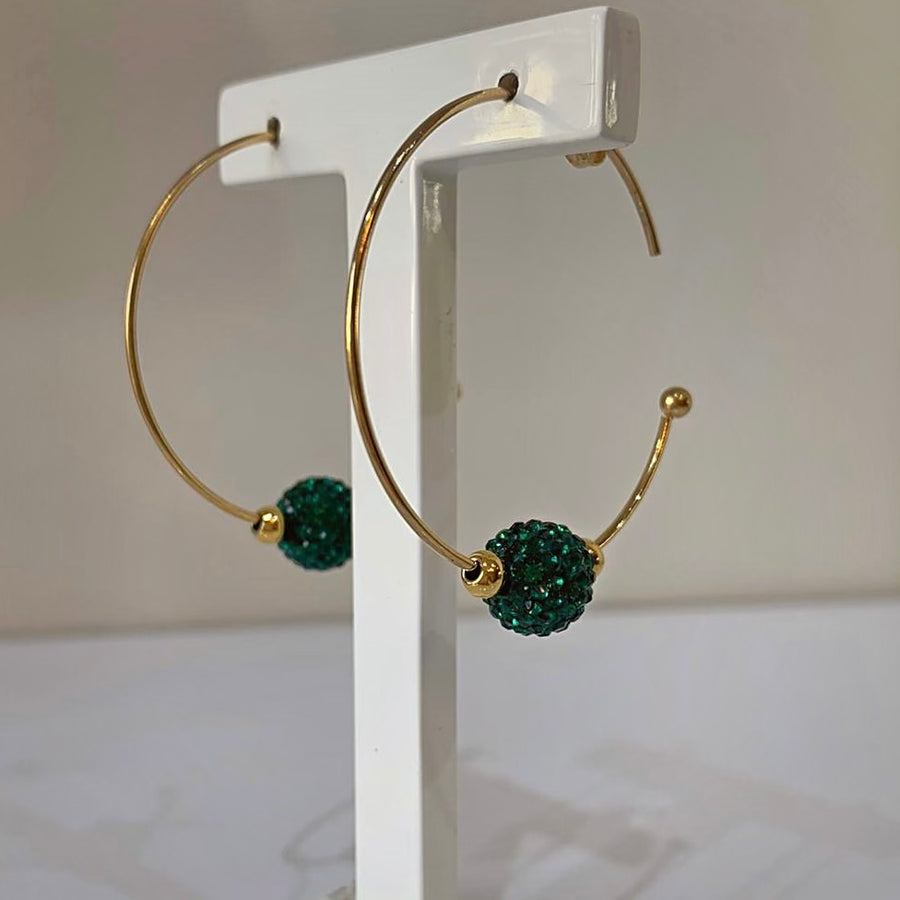 Gold Plated Hoop with Green Swarovski Ball
