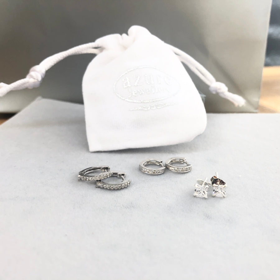 Silver Cubic Zirconia Huggies and Swarovski Stud Bundle