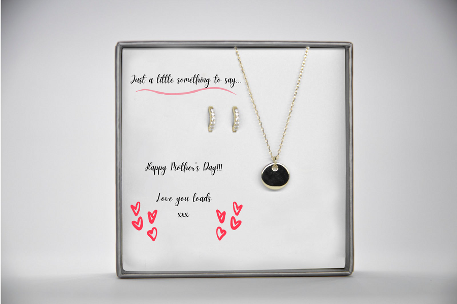 Gold Disc & Huggie Mother's Day Set