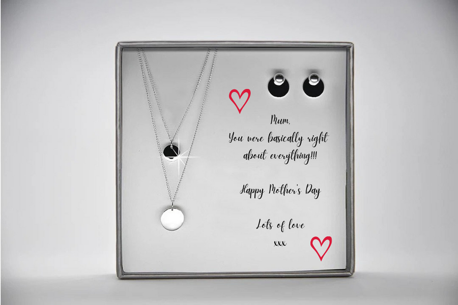Disc Solitaire Necklace & Earring Mother's Day Set