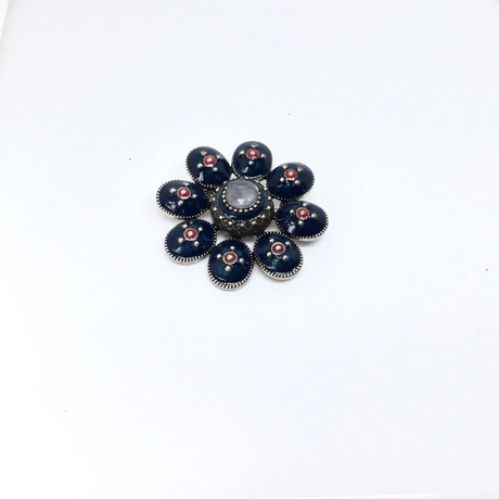 Navy Flower Brooch