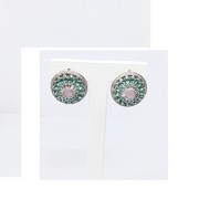 Blue, pink and aquamarine diamond earrings