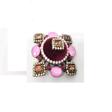 Pink and Amber Toned Brooch