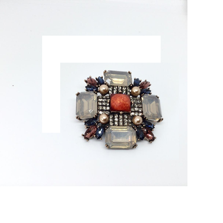 Burnt Orange, Navy and Bronze Gemstone Brooch