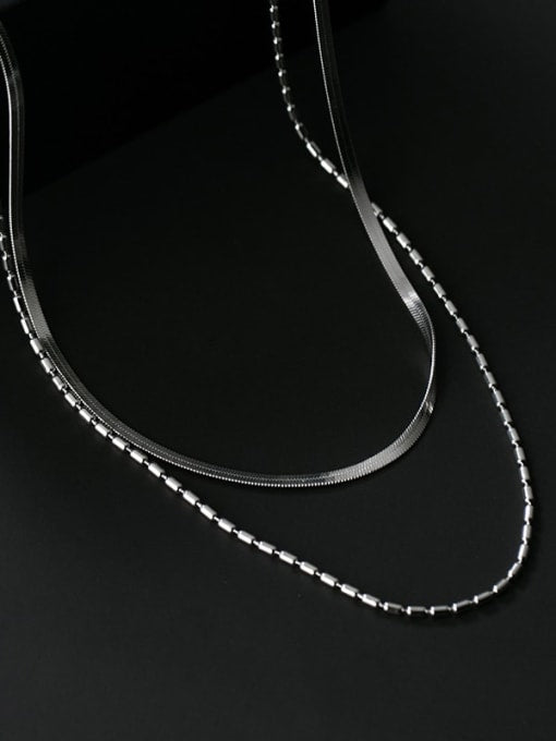 Double Stranded Minimalistic White Gold Necklace
