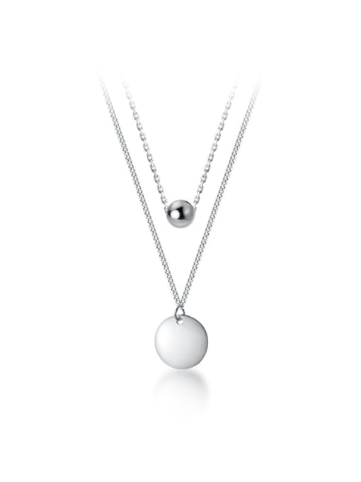 Double Stranded Sterling Silver Disc and 8mm ball Necklace