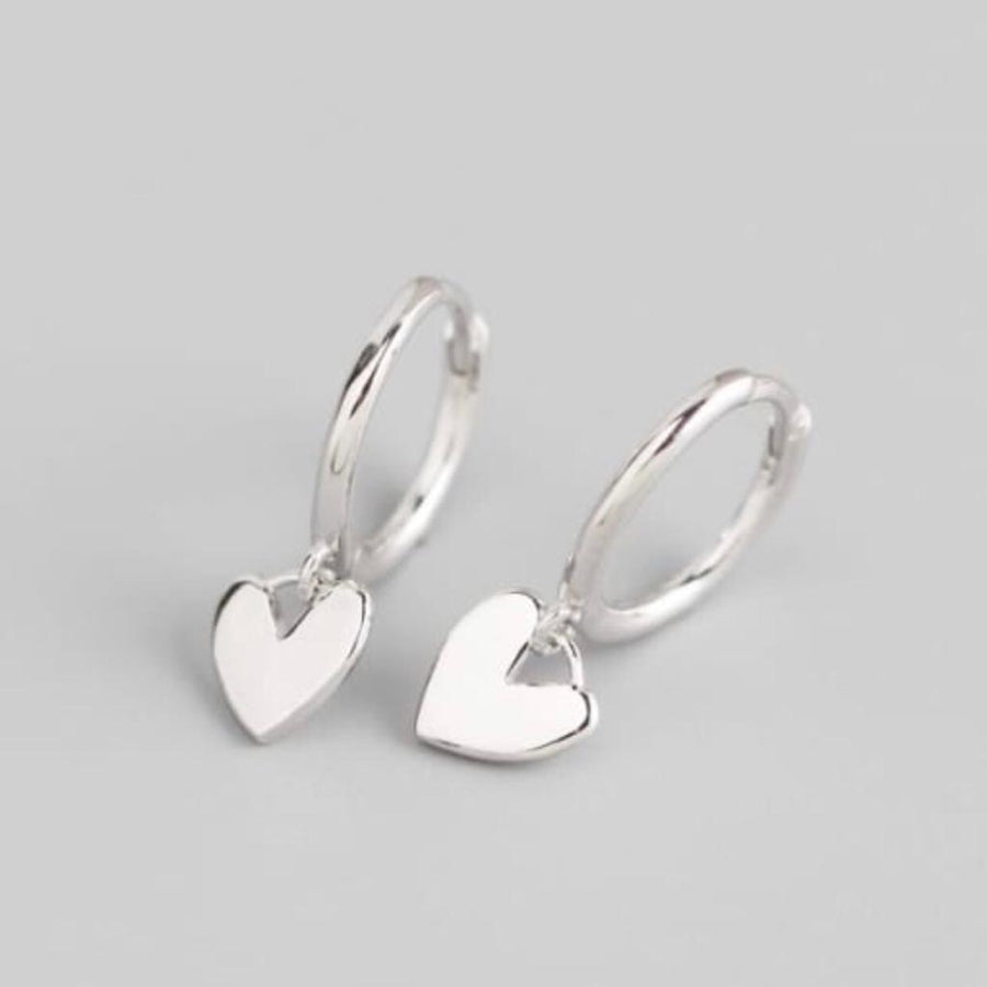 Sterling Silver Heart Huggies