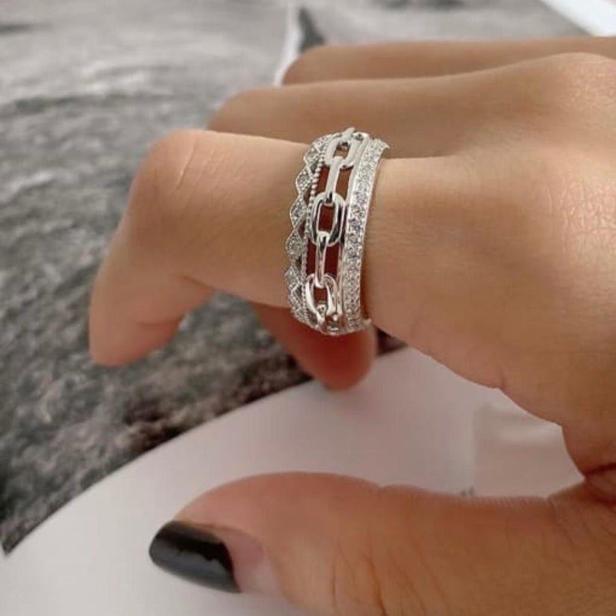 Sterling Silver Crystal and Link Ring
