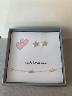 Crystal and polished silver Star Bracelet and Earring Gift Set