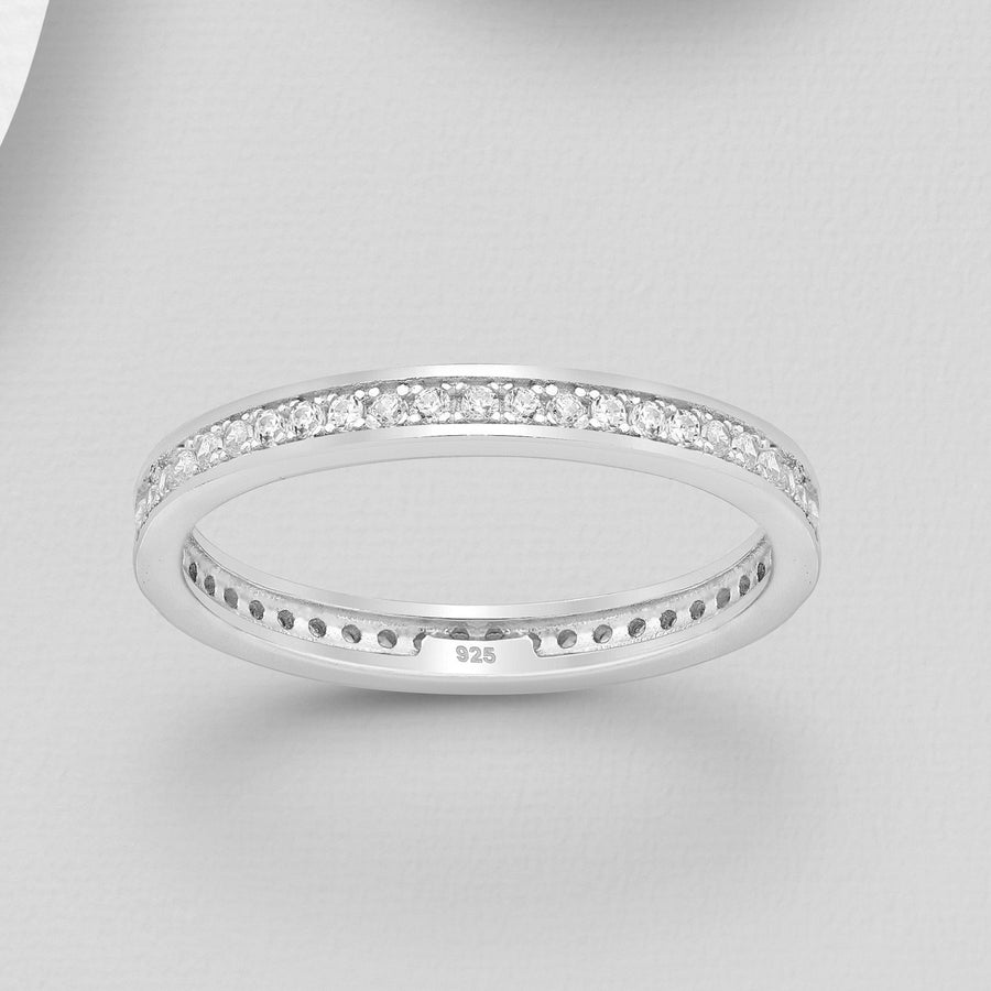 Encased Simulated Diamond Banded Ring