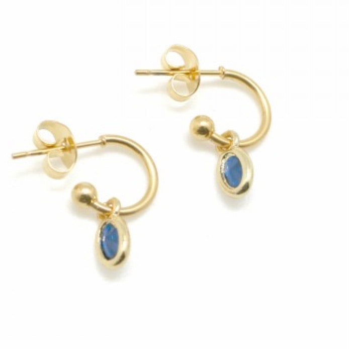 Azure blue open gold hoop