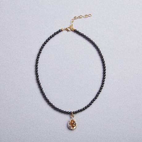 Amber Tear Drop Black necklace