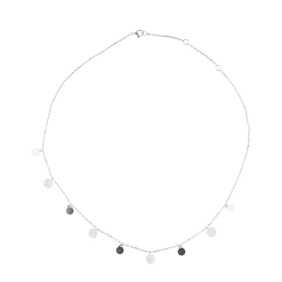 Sterling Silver and Cubic Zirconia Disc Necklace