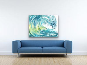 Watercolor Original Blue Wave