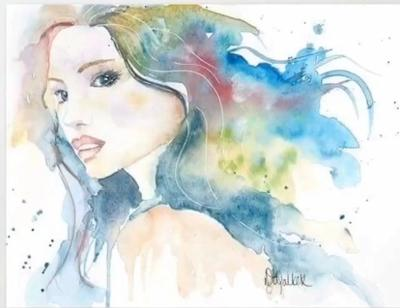 Watercolor Original Bohemian Dreamer