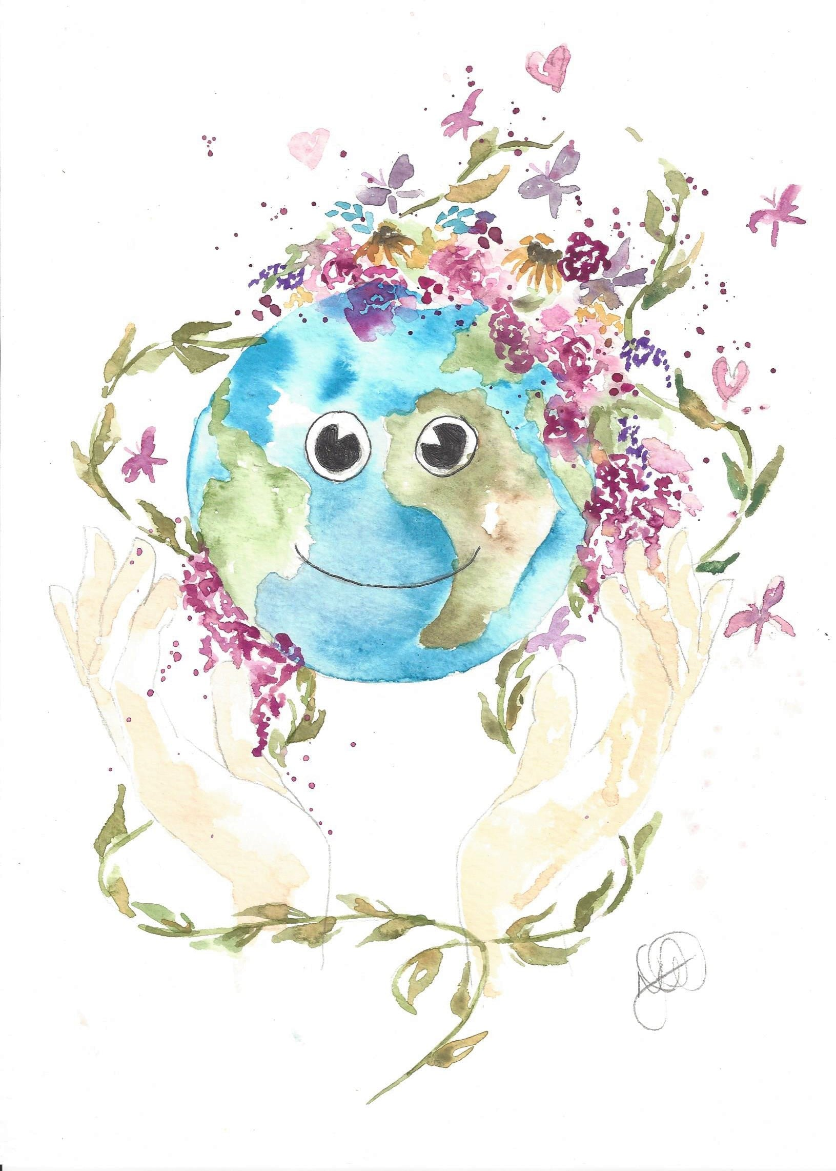 Watercolor Original Mother Earth