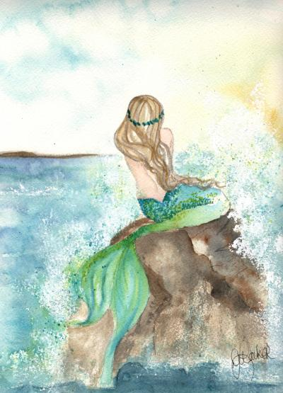 Print Watercolor Emerald Mermaid