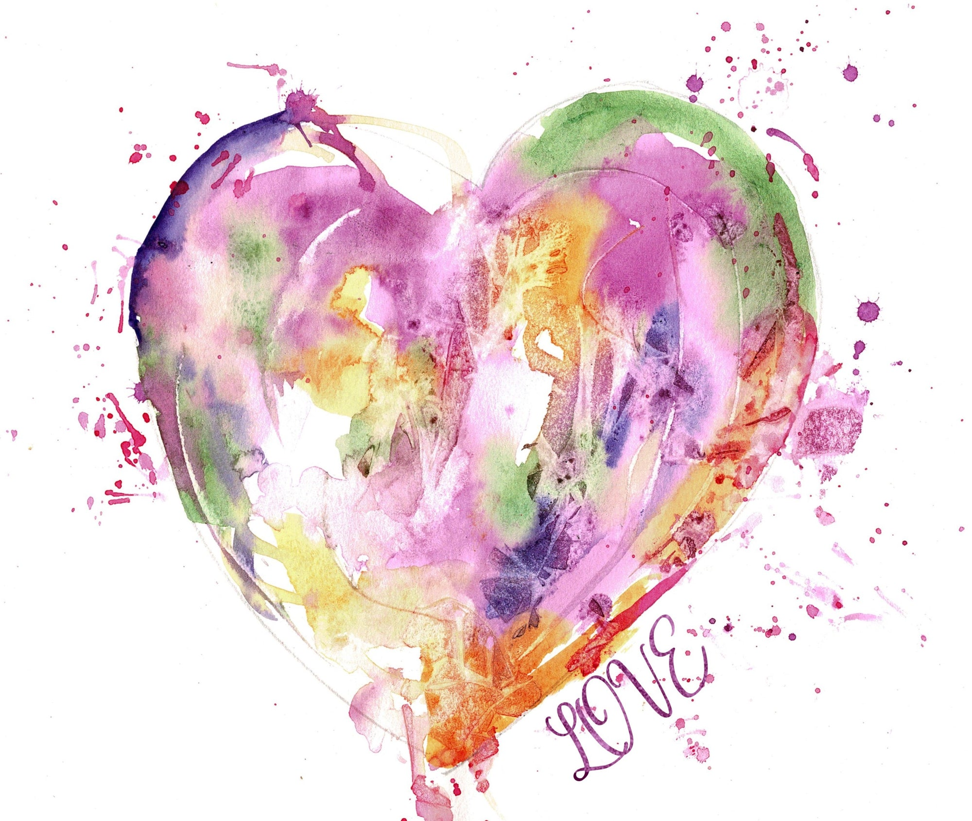 Print Watercolor Abstract Heart