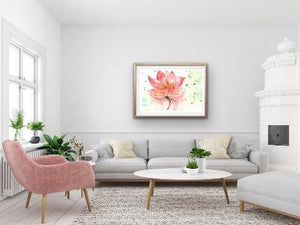 Print Watercolor Pink Lotus