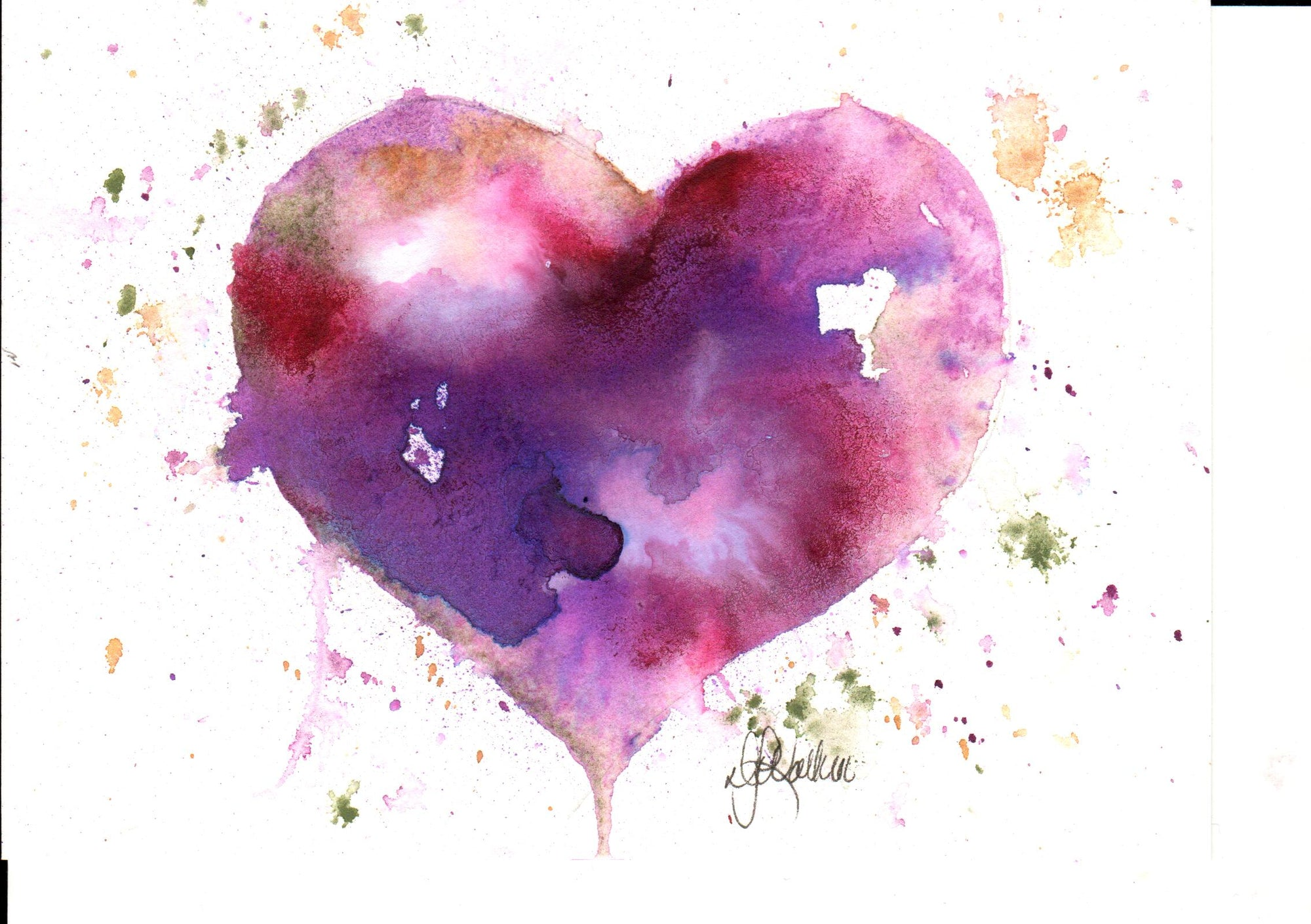 Print Watercolor Purple Heart
