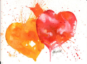 Print Watercolor Double Heart