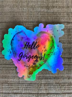 "5- Holographic Sticker ""Your Gorgeous"" Heart"