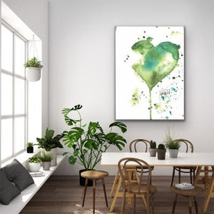 Print Watercolor Green Heart